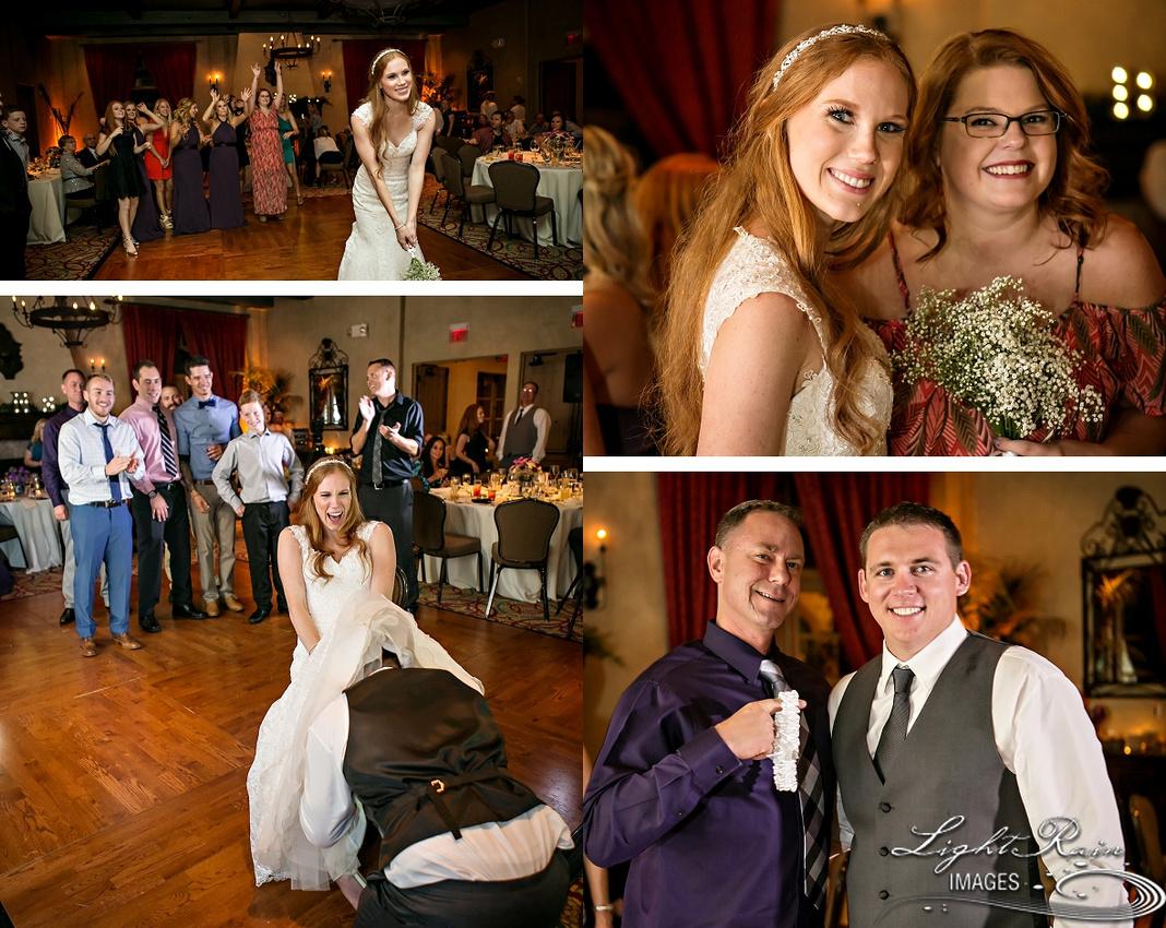 Royal Palms wedding photos garter bouquet