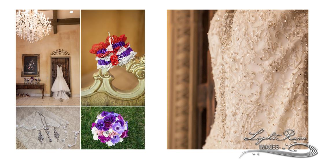 bride's details, garter, dress, bouquet and jewelry