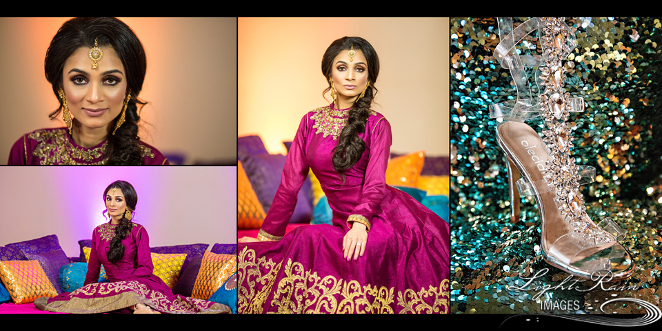 Mehndi theme for Indian bride and blingy wedding shoes