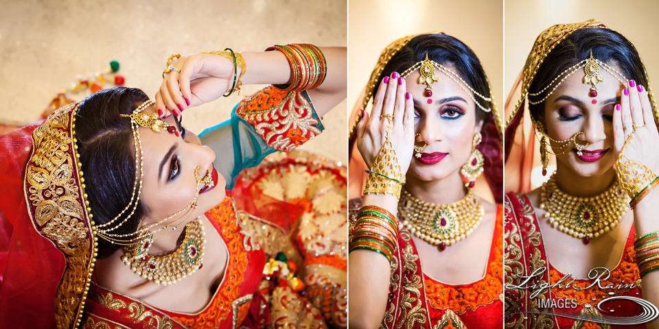 Hair and make-up close-up portrait of beautiful Indian bride