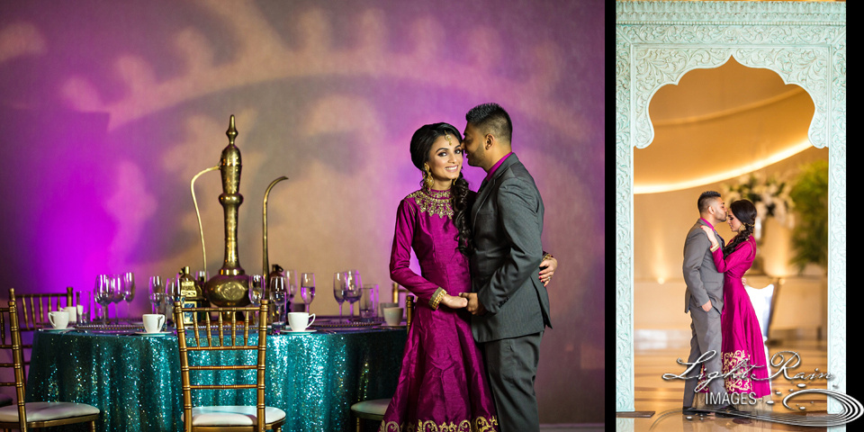 Purple and pink light wall light design and turquoise tablescape set-up for Mehendi night with bride and groom in matching colors.