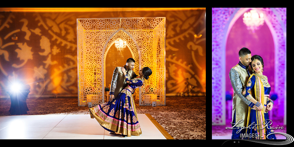Indian bride and groom dancing against a gold and purple backdrop during reception.