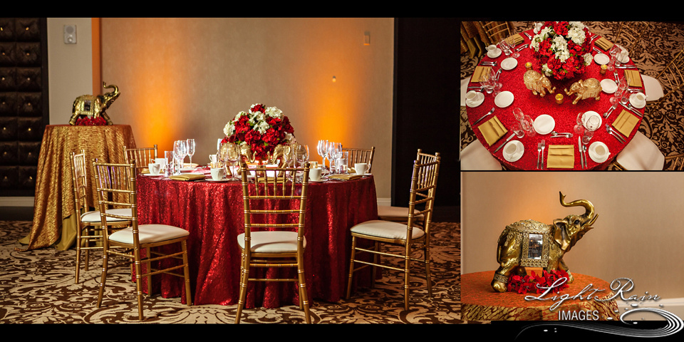 Tablescape set-up in brilliant red and gold  linens and white tableware for Indian wedding reception.
